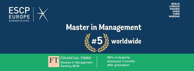 Der Studiengang Master in Management der ESCP Europe ist im weltweiten Ranking der Financial Times auf Platz fünf gelistet
