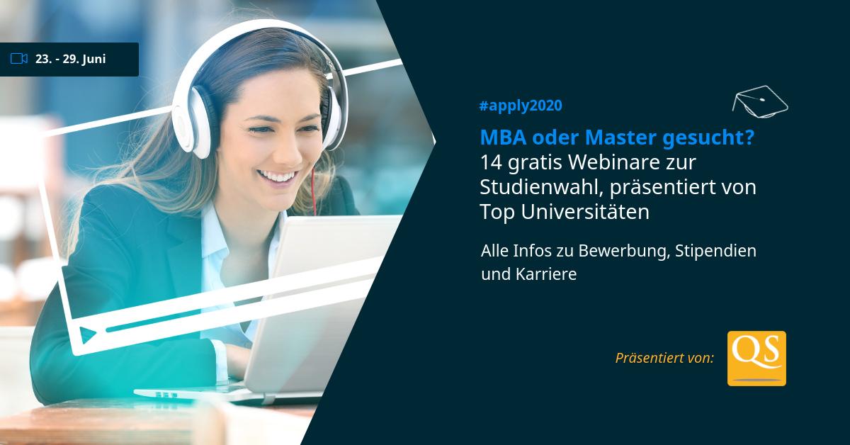 QS präsentiert 14 Live Webinare zum MBA und Master-Studium